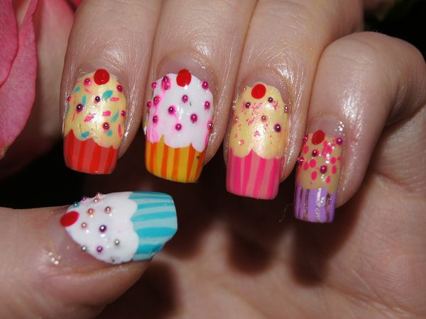 Orange,Yellow, Pink, Purple, and Blue Cupcake Nails