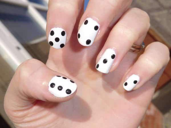 White Nails with Black Dice Dots