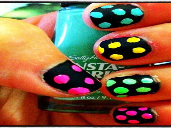 Black Nails with Pink, Green, and Yellow Dice Dots