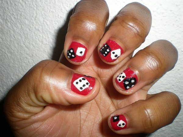 Red Nails with Black and White Dice