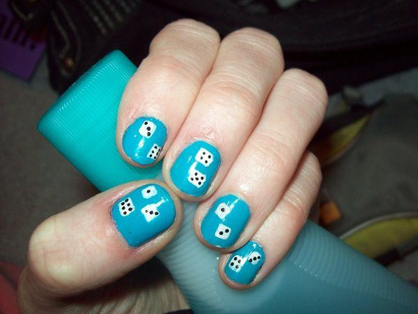 Sky Blue Nails with White Dice