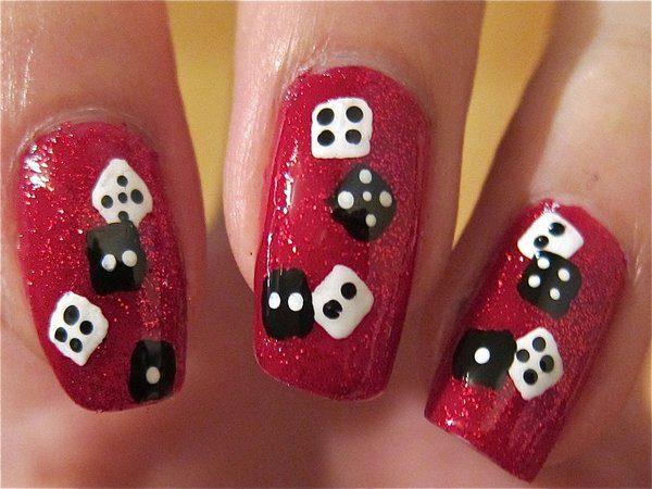 Red Glitter Nails with White and Black Dice