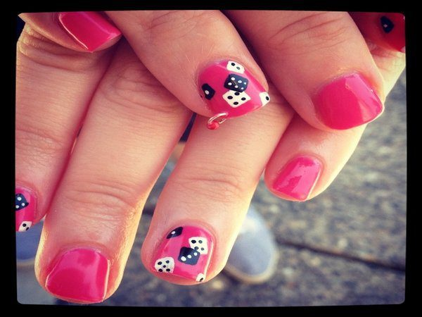 Pink Nails Black and White Dice
