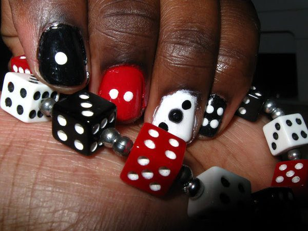 Black, White, and Red Dice Nails