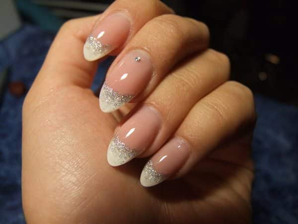 White and Silver French Manicure Tips