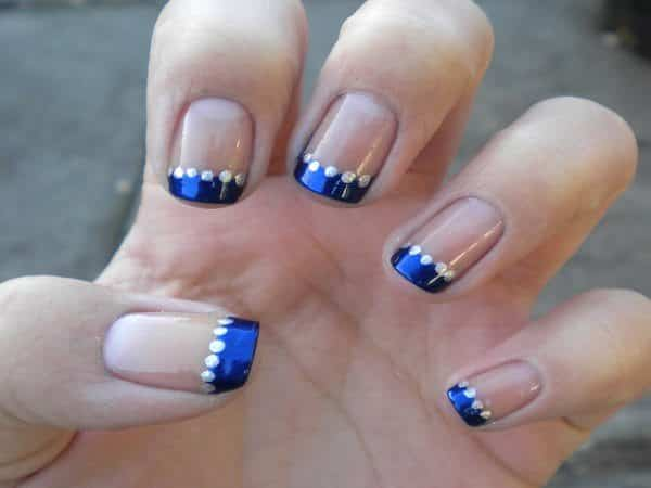 Blue French Manicure with Silver Dots