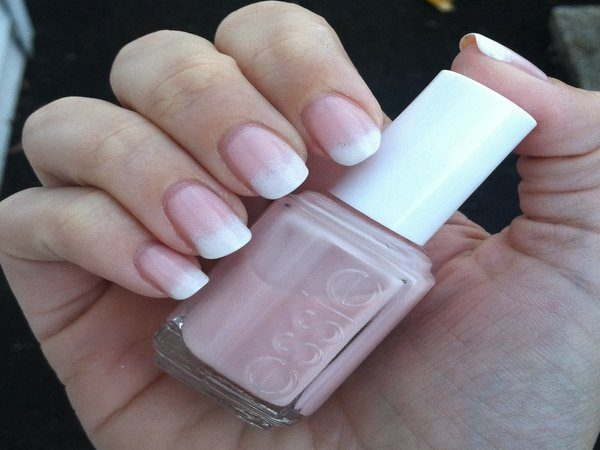 Pink Nails with White Tips