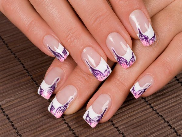 White French Manicure Nails with Purple and Pink Flower Petals