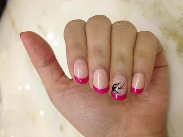 Light Pink Nails with Dark Pink French Manicure Tips