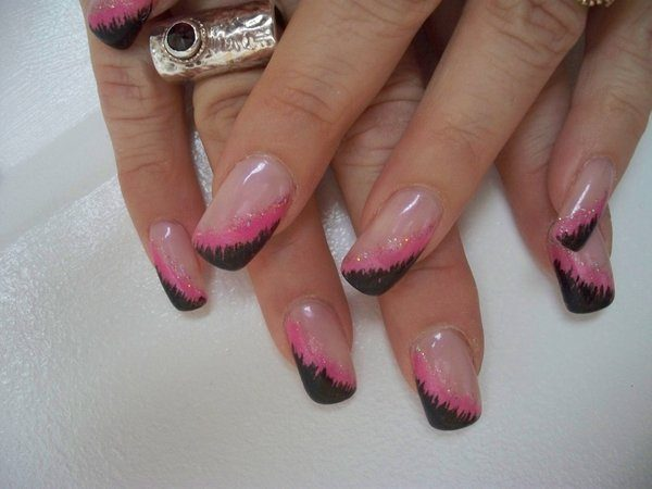 Clear Nails with Pink and Black Slanted Tips