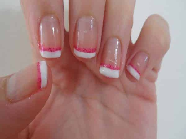 White and Glitter Pink French Manicure Tips