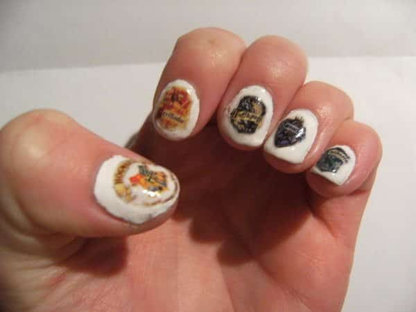 White Nails with Harry Potter House Shield Decals