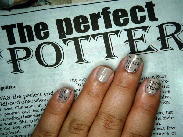 Grey Harry Potter Nails with Book Text