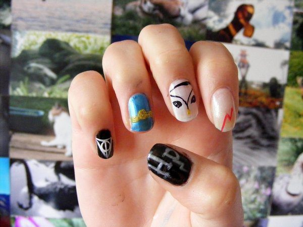 Harry Potter Character Nails with Hedwig and Lightning Bolt
