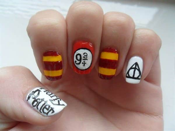 Harry Potter Nail Designs with Train Platform and The Deadly Hallows Symbol