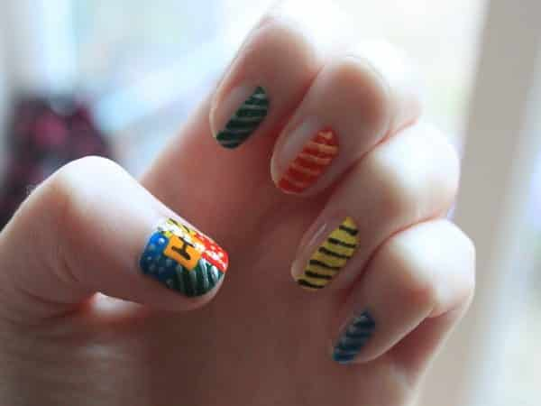 Harry Potter Houses Half Nail Design with Stripes