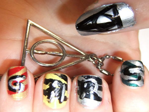 Harry Potter Houses Colors with Silver and Gold Metallic Stripes and House Initials