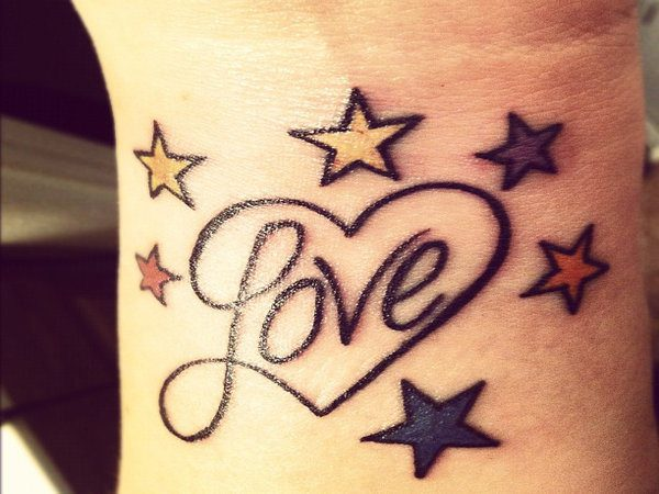 Love Heart with Colored Stars Wrist Tattoo