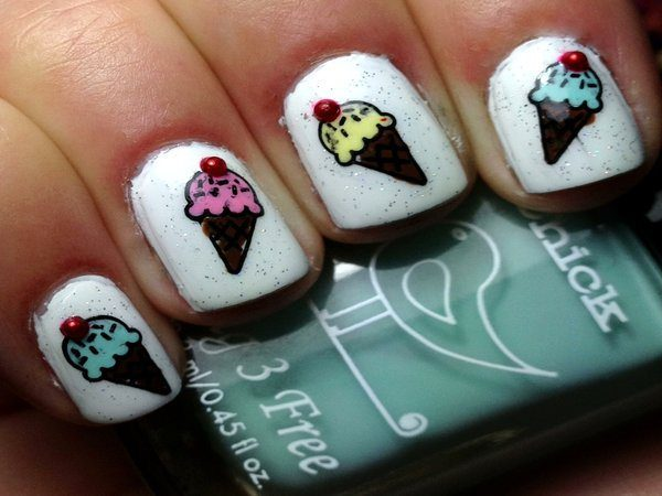 White Nails with Ice Cream Cones
