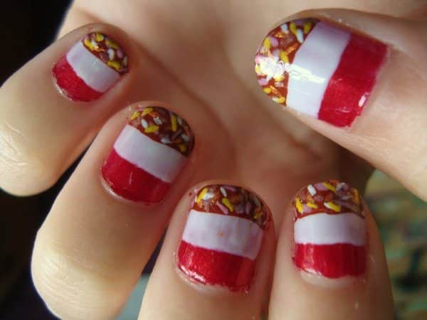 Red and White Striped Ice Cream Nails with Sprinkles