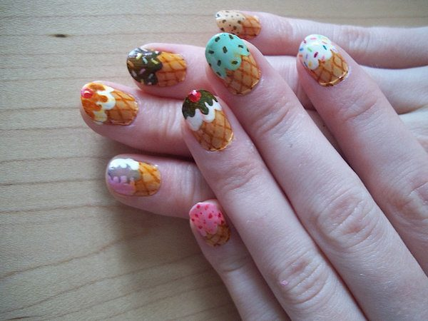 Brown Ice Cream Cone Nails with Many Colors