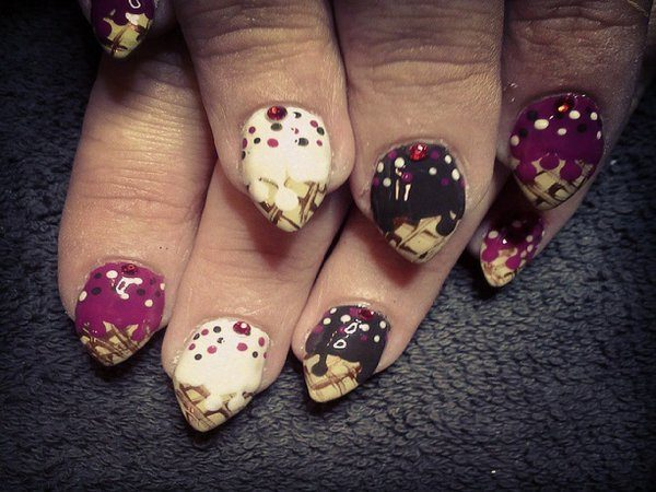 Pointy Nails with Melted Ice Cream Cones