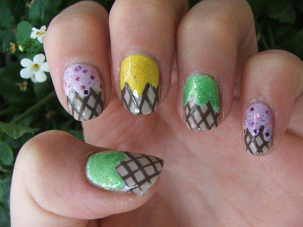 Green, Yellow, and Pink with Sprinkles Nails