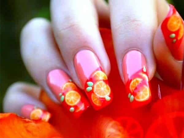 Pink Nails with Red Tips and Orange Slices