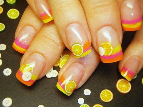 Orange Yellow and Pink Striped Nails with Slices