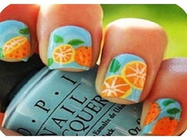 Light Blue Fruity Orange Nails with Leaves