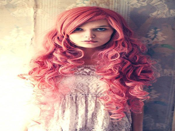 Long Pink Hair with Curls