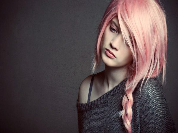 Messy Pink Hair with a Braid