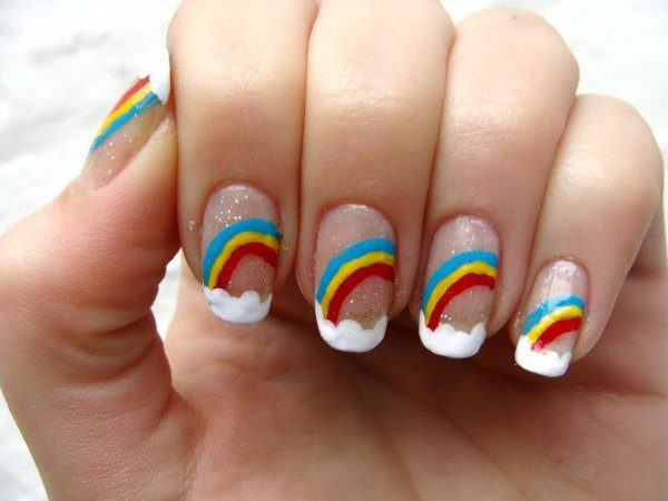 Clear Nails with Rainbows and Clouds