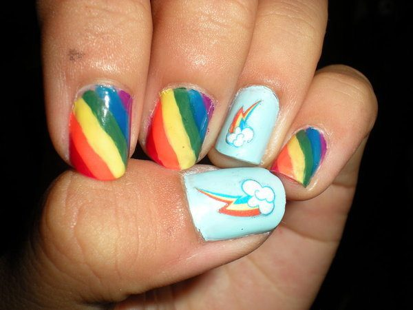 Striped Rainbow Nails with Light Blue Clouds