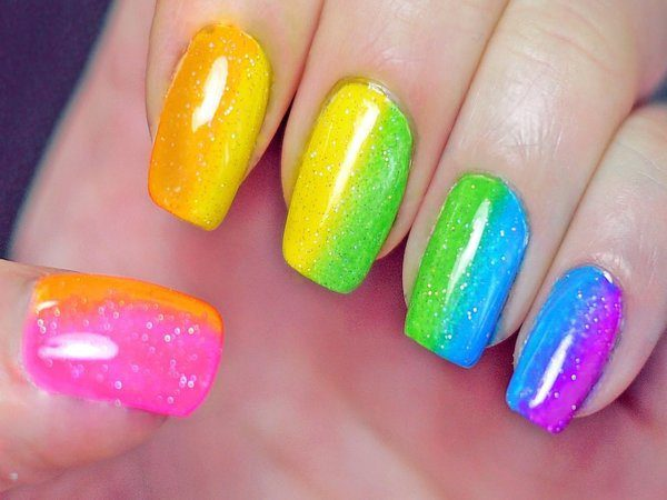 Nails with Half Rainbow Colors with Glitter