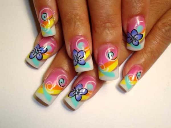 Rainbow Swirl Nails with Blue Flowers