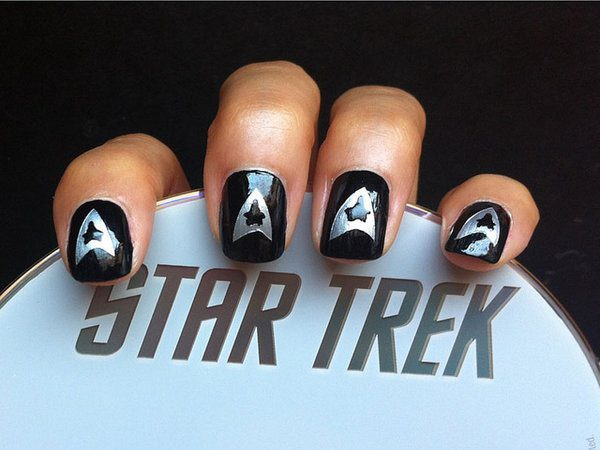 Black Nails with Silver Star Trek Insignia