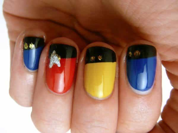 Red, Yellow and Blue Nails with Black Tip and Golden Rank Dots