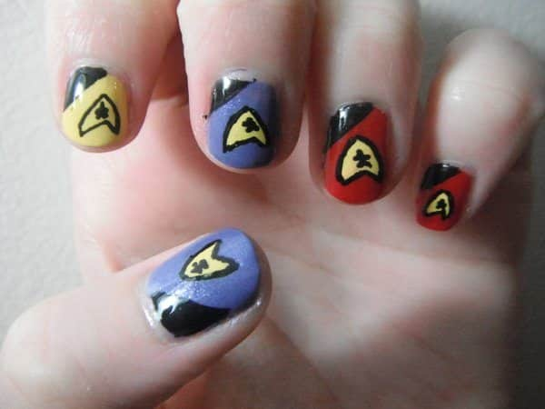 Black with Blue, Red, Yellow Nails with Star Trek Insignia