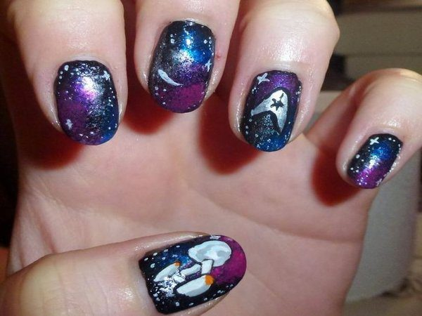 Blue, Purple, and Black Nails with Stars and the Enterprise Ship with Insignia