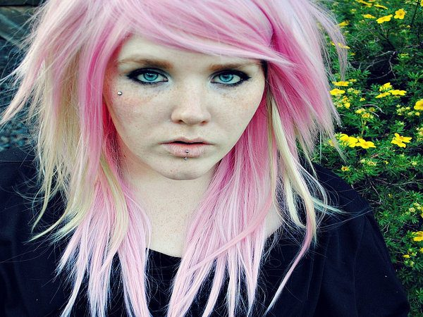 White and Pink Long Layered Hair