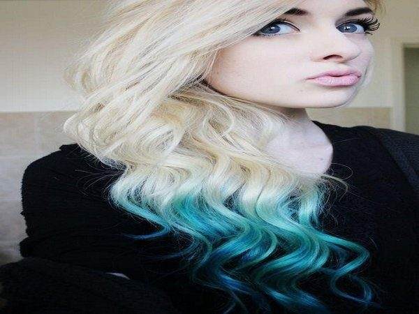 Long White Curly Hair with Blue Curly Ends