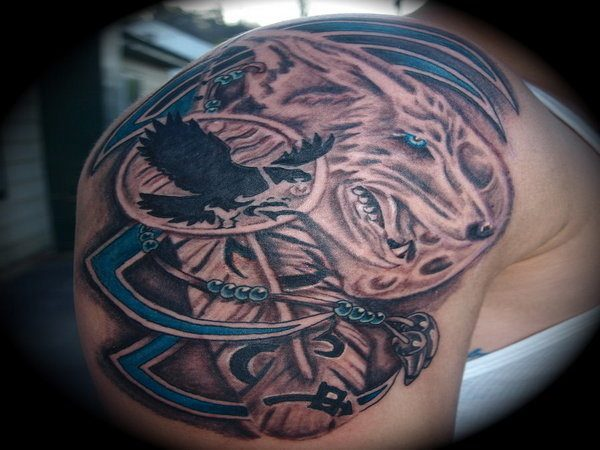 Native American Wolf Tattoo with Eagle and Beads