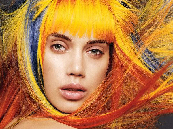 Yellow, Blue and Red Hair