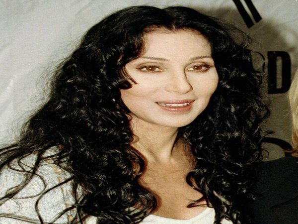 Cher with Long Black Curly Hair