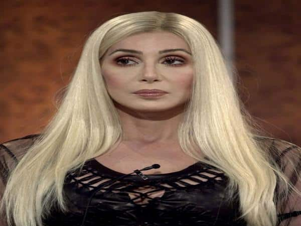 Cher with Long Platinum Blond Hair