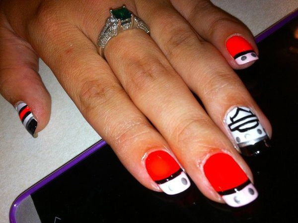 Orange Harley Davidson Nails with White Tips and Harley Shield - Harley Davidson Nail Designs - 10 Hot Collections Design Press