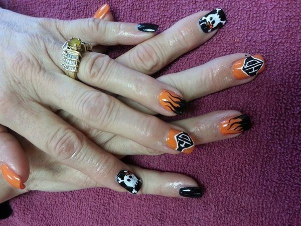 Black and Orange Harley Davidson Nails with Flames, Skulls, and HD Symbol - Harley Davidson Nail Designs - 10 Hot Collections Design Press