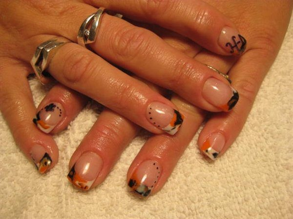 White, Black, and Orange Nails with HD Initials and Black Flowers with Dots