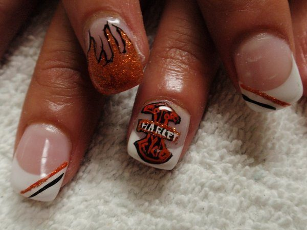 White Tipped Nails with Orange and Black Stripes and Harley Davidson Flames and Shield Symbol